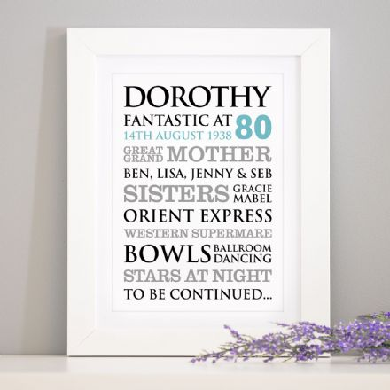 Personalised 80th Birthday Typographic Art Print